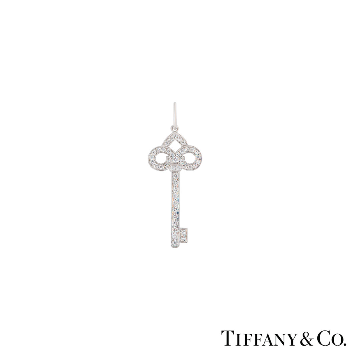 Tiffany & Co. Platinum Diamond Fleur De Lis Key Pendant